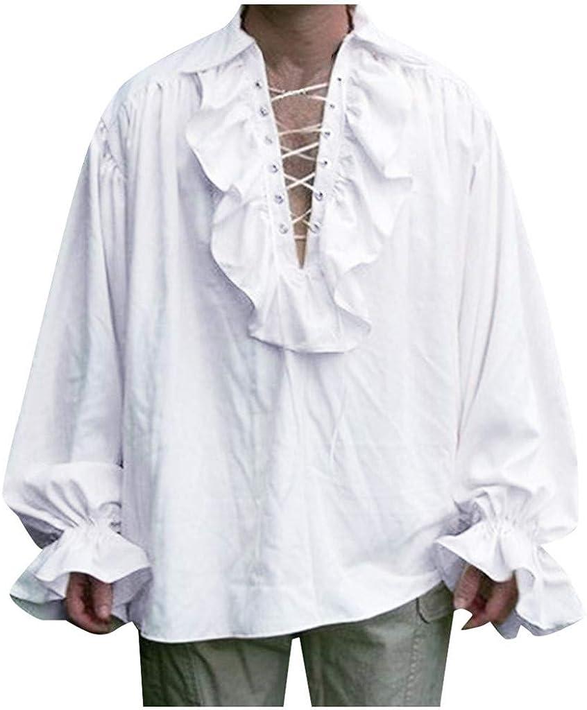 ACEBABY Camisa Medieval Hombre Tallas Grandes Camisa Retro de Manga Larga Estilo étnico Oversize Traje de Rendimiento Apto para Fiestas: Amazon.es: Ropa y accesorios