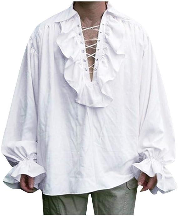 ღLILICATღ Camisa Victoriana Steampunk para Hombre de Manga Larga con Cuello de Volante Vendaje Jabot Camisa Retro de Manga Larga de Estilo étnico: Amazon.es: Ropa y accesorios