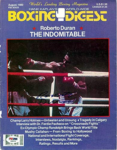 Roberto Duran Autographed Boxing Digest Magazine Cover #S48936 PSA/DNA Certified Autographed Boxing Magazines