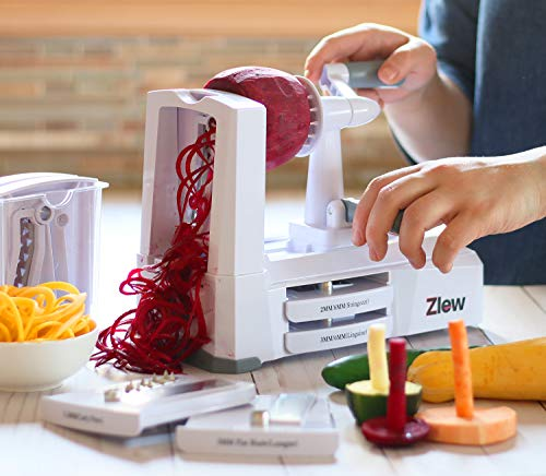 10-Blade Spiralizer Vegetable Slicer Strongest Heaviest Duty Veggie Pasta Spaghetti Maker for Healthy Low Carb/Paleo/Gluten-Free Meals with Blade Caddy, Container, Lid & Exclusive Recipe Book by Zlew by ZLEW (Image #6)
