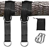 Tree Swing Hanging Straps Kit - 2 Straps 2 Lock Snap Holds 2000lbs | 5ft Extra Long Straps Strap with Safer Lock Snap Carabiner Hooks Perfect for Tree Swing & Hammocks Carry Pouch Easy Fast Installati