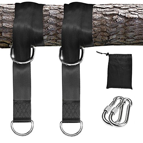 Tree Swing Hanging Straps Kit - 2 Straps 2 Lock Snap Holds 2000lbs | 5ft Extra Long Straps Strap with Safer Lock Snap Carabiner Hooks Perfect for Tree Swing & Hammocks Carry Pouch Easy Fast Installati by Eohak