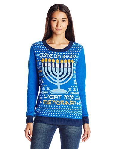 Ugly Christmas Sweater Company Women's Light-Up Light My Menorah, Ocean Blue, XL -