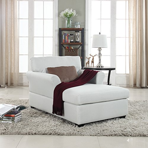 - Large Classic Linen Fabric Living Room Chaise Lounge (Beige)