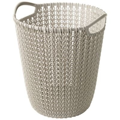 Mini Knit Effect Dune Waste Paper Basket (23cm diameter excluding handles) curver