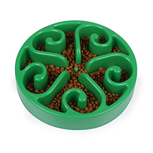 Slow Feeder Bowl Fun Interactive Feeder Slow Feed And Drink Water Bowl Healthy Eating Diet For Dog Pet by NYGY (green)