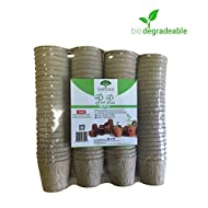 Peat Pots Pack Of 100 By Garden Monks -For Plant Starters, Seedlings,Saplings, Flowers,Vegetables-Eco Friendly & Biodegradable -Prevent Transplant Shock -Garden,Backyard,Kitchen Seed Planting