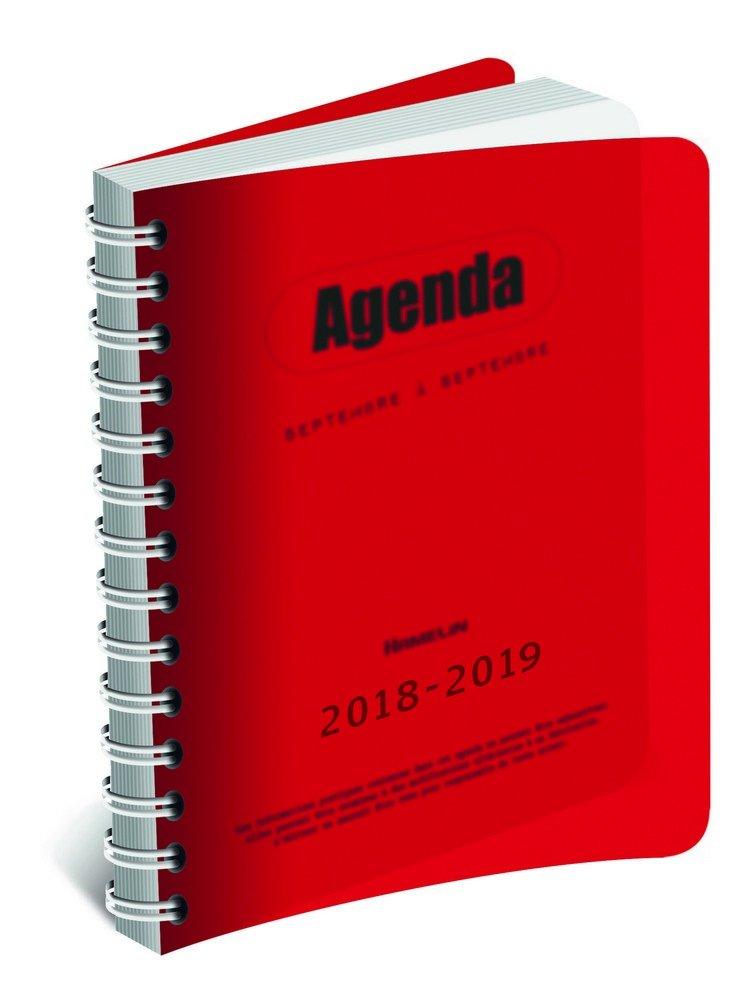 HAMELIN - 1 Agenda Journalier Polypro Rouge Spiralé - Août 2018 à Juillet 2019 - 12x17 cm 400079948
