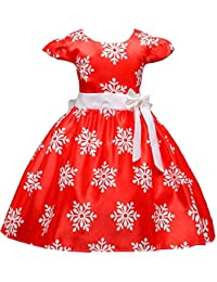 Shiny Toddler Little/Big Girls Cap Sleeves Christmas Snowflake Pageant Printing Dress