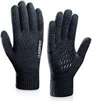 Anqier Winter Knit Gloves,Warm Full Finger Touchscreen Gloves for Men Women Thick Texting with Warm Wool Linin