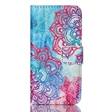 """iPod touch 6 Case,iPod touch 5 Cases ,GOODTONY [Slim Fit] Colorful Leather Premium Protective skin Wallet Flip Case Credit Card Slots Fold Stand for iPod touch 5 6 (4"""" inch) (Color Mandala)"""