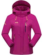 CWSY Women's Waterproof Jacket Outdoor Hooded Raincoat for Hiking Skiing Trekking Travelling Windbreaker Mountaineering