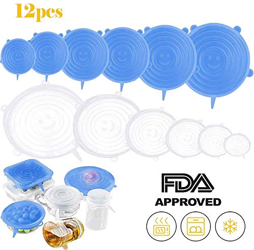 Mavgv Silicone Stretch Lids,12 Pack Reusable Durable and Expandable Lids, Silicone Covers for Fresh Food & Leftovers - Keep Food Fresh, Stretch for Container, Bowl in Dishwasher