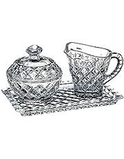 طقم شاي كريستال من بوهيميا، 3 قطع - شفاف
