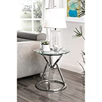 Furniture of America Casey Contemporary Round Glass Top Chrome End Table