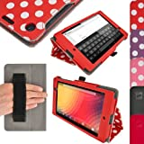 iGadgitz 'Vintage Collection' Folio Red With White Polka Dot PU Leather Case Cover for Google Nexus 7 FHD 2013 Model 2nd Generation With Auto Sleep Wake + Hand Strap + Multi Angle Viewing Stand + Screen Protector