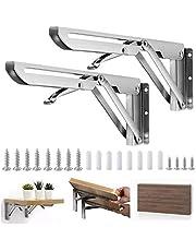 BUZIFU Klapconsole, 300 mm, 2 stuks, roestvrij staal, klaptafel, scharnier, heavy-duty console, klapscharnieren, klapbeugels, wandhouder voor tafelbladen, draagkracht: 60 kg