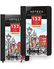 ARTEZA 2 x livre croquis 13 x 21 cm | Carnet de dessin de poche 132 pages | Papier épais 175 g/m² | Journal coque dure avec marque-page | Pochette intérieure et élastique | Médias secs