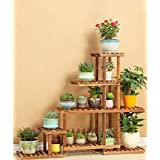MILUCE Natural pine wooden 6 layers Flower Racks balcony Indoor outdoor Flower Pot Rack Bonsai Shelf ( Style : B )