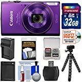Canon PowerShot Elph 360 HS Wi-Fi Digital Camera (Purple) 32GB Card + Battery & Charger + Flex Tripod + Kit