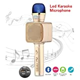 Bluetooth Wireless Led Microphone, Christmas Kids Gift Portable Mini Karaoke Mic Speaker for Singing,Handheld Home KTV Music Player,Supports PC and Smartphone (Gold-YS68)