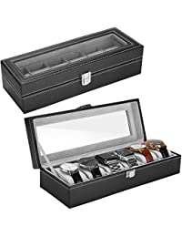 ProCase Watch Box Leather for Men Women (6 Slots), Premium PU Leather Watch Display Case Box Organizer with Crystal Glass Top, Removable Pillow -Black
