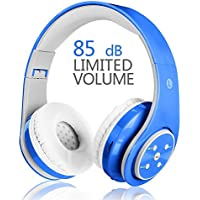 Votones Wireless Headphones for Kids Adults Over Ear Rechargeable Foldable Bluetooth Headset with Microphone 3.5mm Jack for Hands Free Calling,Compatible with Smartphones PC Tablet-Blue