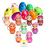 MALLMALL6 10Pcs Easter Eggs Toy Filled Little Doll Surprise Eggs Filled Mini Soft Jumbo Kawaii Squishy Toys for Easter Theme Party Favor, Easter Eggs Hunt, Basket Stuffers Fillers, Squeeze Toys for Kids and Adults
