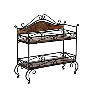 Beyond Collection Antique Wrought Iron & Wooden Rack (Brown)