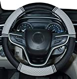 Amuahua Needle Steering Wheel Covers Universal 15 inch with Soft Fiber Leather Braid for Car Truck SUV (Gray)