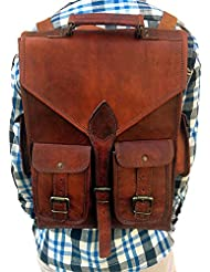 Vintage Leather Macbook Briefcase 2-in-1 Leather School Bag Backpack Rucksack