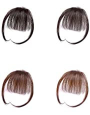 Women Black/Brown Blunt Fringe Neat Front Bangs High Temperature Extension Clip In Thin Seamlessly Beauty