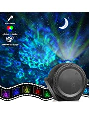 Star Projector, ECOWHO Planetarium Projector, Night Light Projector with 3-in-1 Ocean Wave Star Moon Neubla for Kids, 2000mAh 13 Modes Voice Sensor Laser Projector for Bedroom Christmas