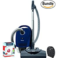 Miele Compact C2 Electro+ Powerline Canister Vacuum, Marine Blue - ReVIVE Rapid Dual USB 6 Outlet Wall AC Adapter, & 10123220 AirClean 3D Efficiency Dust Bag, Type FJM, 4 Bags & 2 Filters (Bundle)