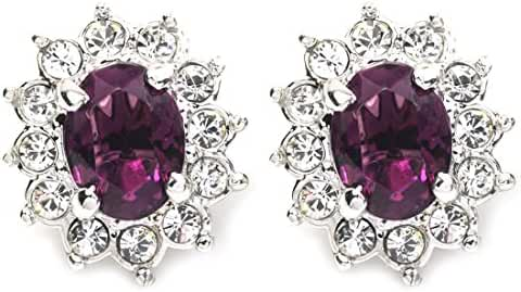 FC JORY White Gold Plated CZ Multi-color Crystal Princess Clip-on Earring for women nickel free