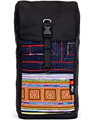 Ethnotek Setia casual stylish urban bohemian travel daypack backpack for women and men by with outside panel hand-loomed...