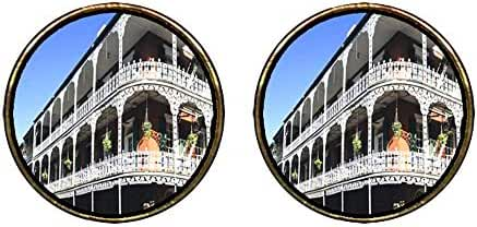 GiftJewelryShop Gold Plated Travel New Orleans Photo Stud Earrings 12mm Diameter