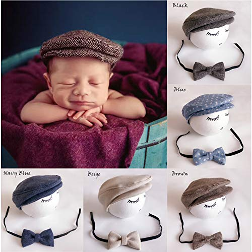 Newborn Baby Photography Photo Props Boy Girl Costume Outfits Hat Tie Set (Coffee)