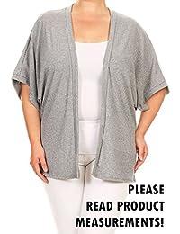 Women's Plus Size 3/4 Sleeve Kimono Open Front Cardigan Sweater Solid Print