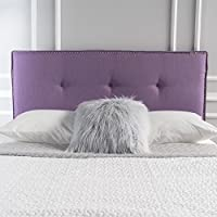 Labelle Studded Edge Fabric Queen/Full Headboard (Light Purple)
