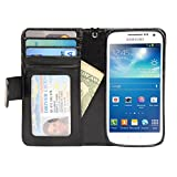 Navor Samsung Galaxy S4 Mini Book Style Folio Wallet PU Leather Case with Money Cards Pocket (Black)