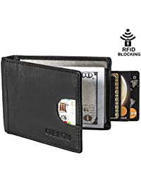 Mens Genuine Leather Wallet Slim Bifold Front Pocket Wallets RFID Blocking Card Cases with Money Clip