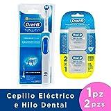 CREST + ORAL-B Cepillo de Dientes Eléctrico Recargable Vitality y Hilo Dental Pro-Salud, 25 m, 2 Piezas