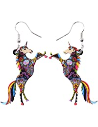 """BONSNY Fantasy Collection """"NATHIAYA"""" our Magical Unicorn Charm Statement Drop Dangle Acrylic Earrings"""