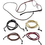 Eyeglasses Holder Strap – Premium Leather [Pack of 4 + Bonuses] – Glasses Holder Lanyard Chain Cord Necklace – Eyewear Retainer for Men Women Boys Girls - Never Lose Glasses Again