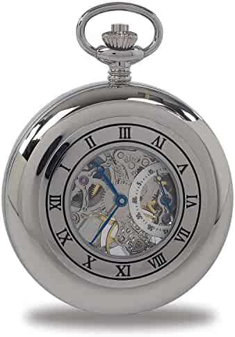 Vintage Pocket Watch with Chain by Rapport - Classic Oxford Half Hunter Pocket Watch with Roman Numeral Skeleton Dial - Silver