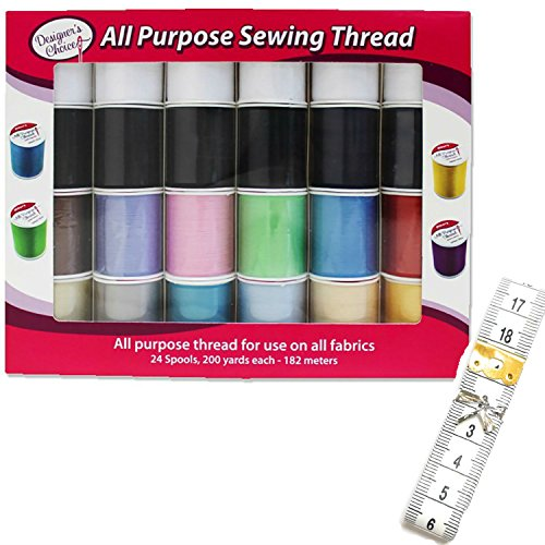 Assorted All Expressly Sewing Thread Spools for Sewing Machine, 24 Polyester Thread Pack Bundled with a 79 inch Tape Measure