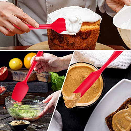 Silicone Spatula Set, E-far 9 PCS Heat Resistant Rubber Spatulas Utensils for Nonstick Cookware Baking Cooking Mixing, Seamless & Flexible, Dishwasher Safe - Red