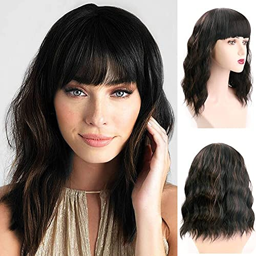UHIBROS Short Black Wig With Bangs For Women Wavy Bob Wig,Mixed Brown Highlights Shoulder Length Wigs Natural Looking Heat Resistant Synthetic Wig For Cosplay,Party,Daily Use (14 Inch)