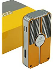 New flyingqin Classic 3 TORCH JET FLAME CIGAR CIGARETTE Metal LIGHTER With PUNCH Yellow